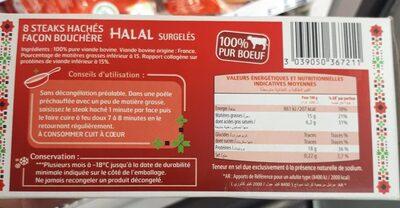 Steaks hachés façon bouchère Halal - Informations nutritionnelles - fr