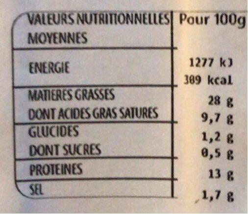Chipolatas sous enveloppe végétale - Informations nutritionnelles - fr