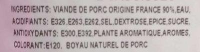 Saucisses De Toulouse X2 Valtero - Ingrédients - fr