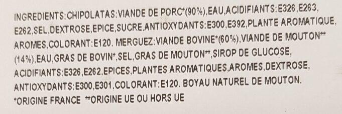Façon Charcutière Chipolatas Merguez - Ingredients