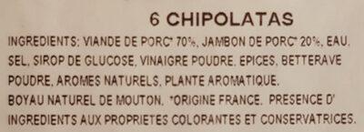Chipolatas supérieures - Ingrediënten - fr