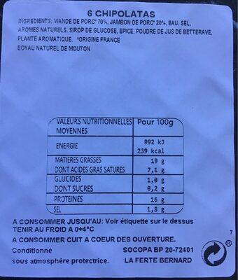 Chipolatas supérieures - Voedingswaarden - fr