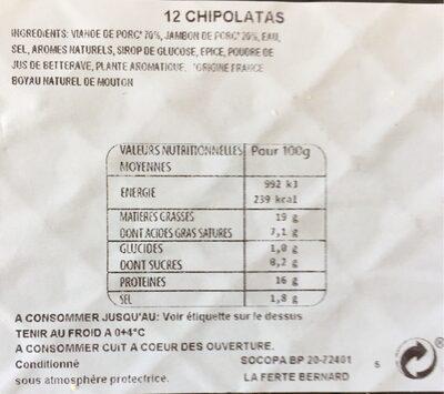 12 Chipolatas Supérieures Façon Charcutière - Informations nutritionnelles - fr