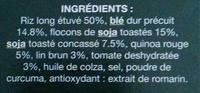 Riz et céréales : riz, blé, soja, quinoa, tomate, lin - Ingrédients - fr