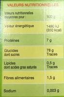 Riz de France incollable - Informations nutritionnelles