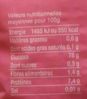 Riz Spécial Dessert - Informations nutritionnelles