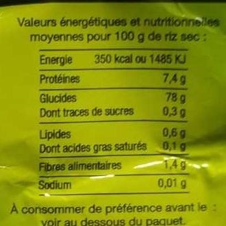 Riz Thaï - Informations nutritionnelles