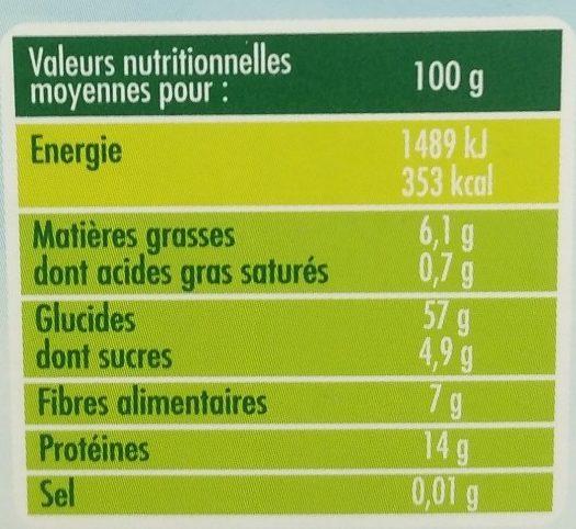 Quinoa d'Anjou - Nutrition facts - fr