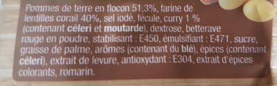 Purée de LENTILLES CORAIL pommes de terre & curry - Ingrediënten