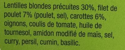 Movin' Box Lentilles aux épices & Poulet - Ingrédients - fr