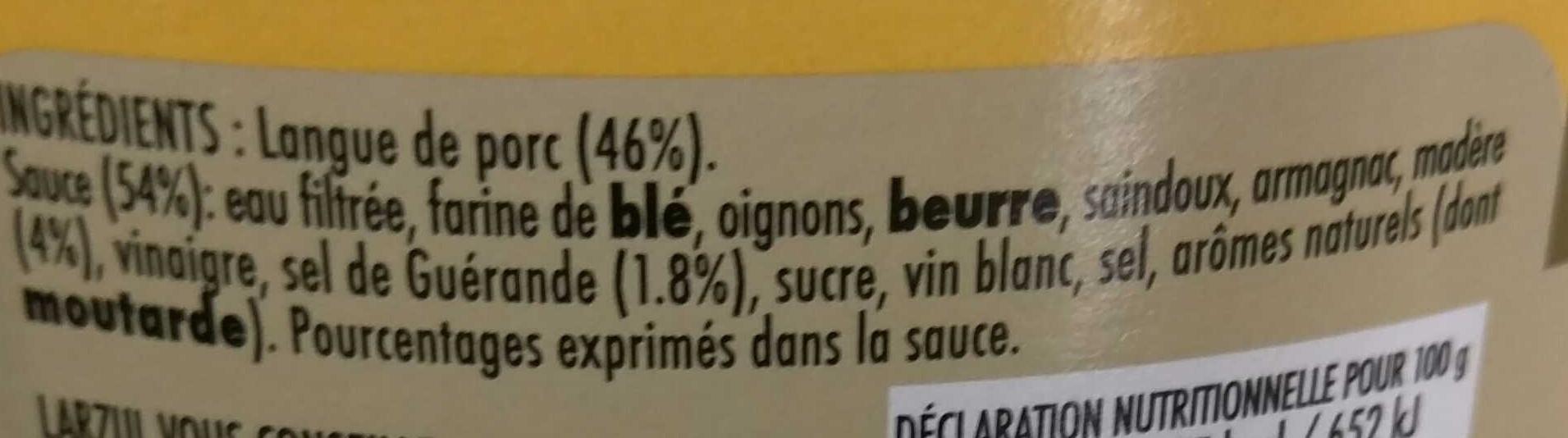 Langue de Porc Sauce Madère - Ingredienti