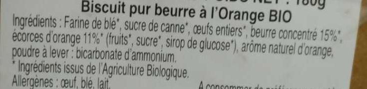 Palets Orange Bio - Ingredients - fr