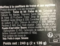 Muffins Fruits Rouges X2 - Ingredients - fr