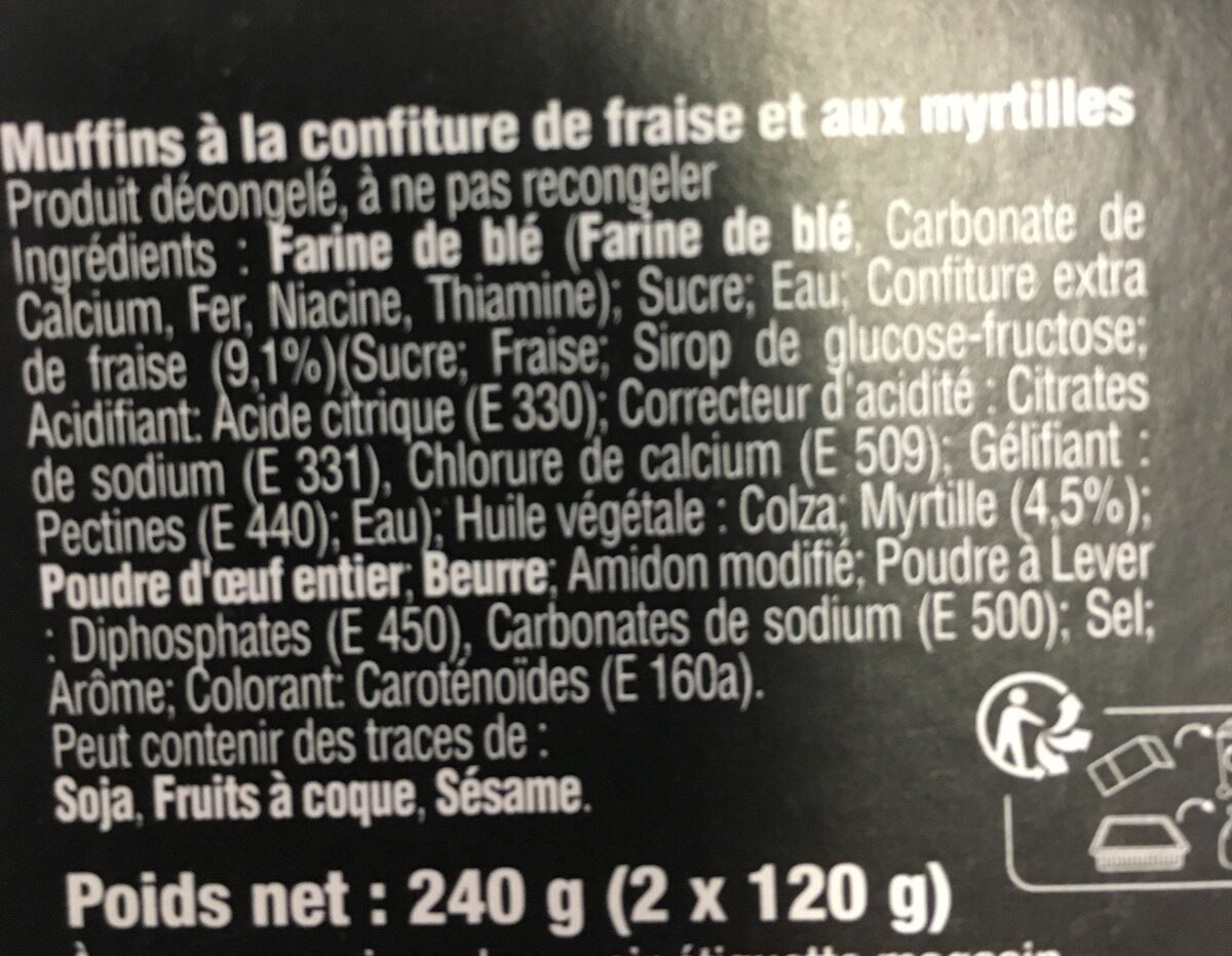 Muffins Fruits Rouges X2 - Ingrédients - fr