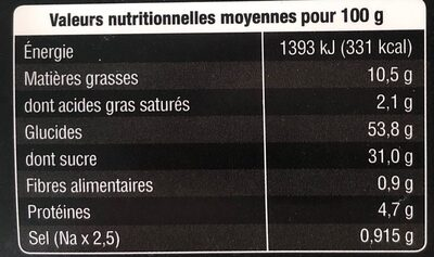 Muffins Fruits Rouges X2 - Informations nutritionnelles - fr