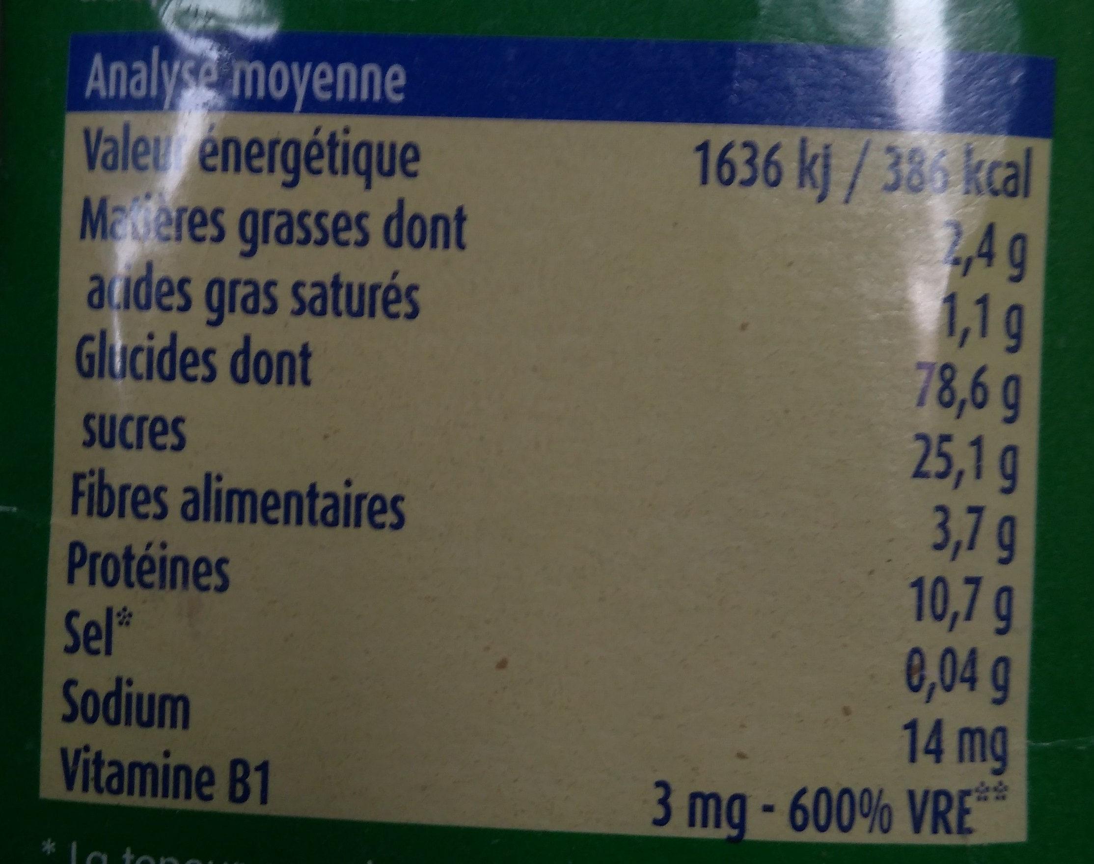 Blédine Cacao - Valori nutrizionali - fr