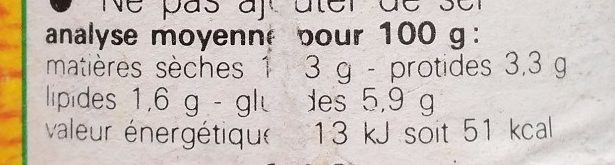 Légumes Poulet Veau - Nutrition facts