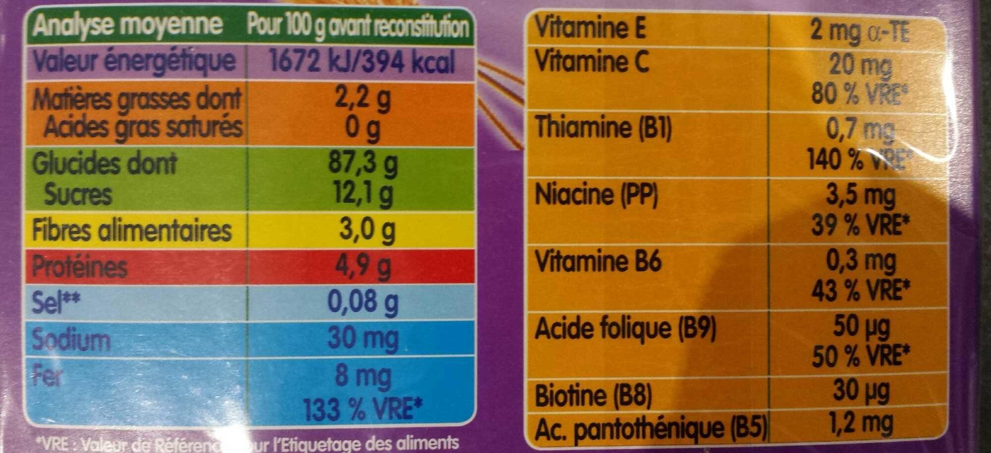 Céréales pour bébé aux légumes - Informations nutritionnelles - fr