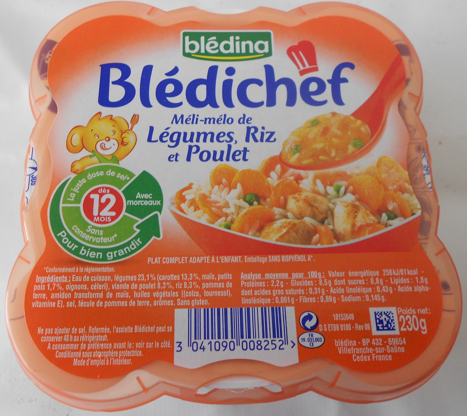 Blédichef Méli-mélo de légumes, riz et poulet - Product