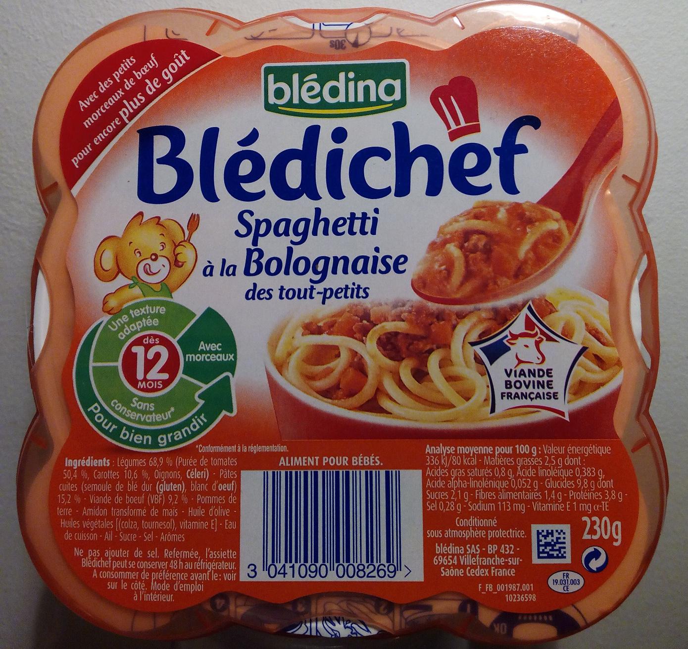Blédichef, Spaghetti à la Bolognaise - Product