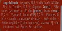 Blédichef, Spaghetti à la Bolognaise - Ingredients