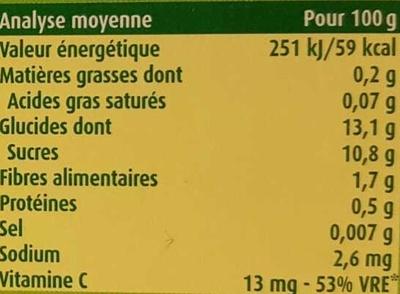 BLEDINA POTS FRUITS Pommes Bananes 4x130g Dès 4/6 Mois - Información nutricional - fr