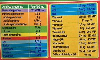 BLEDINA BLEDIDEJ Croissance Biscuité Saveur Vanille 4x250ml Dès 12 Mois - Informations nutritionnelles - fr
