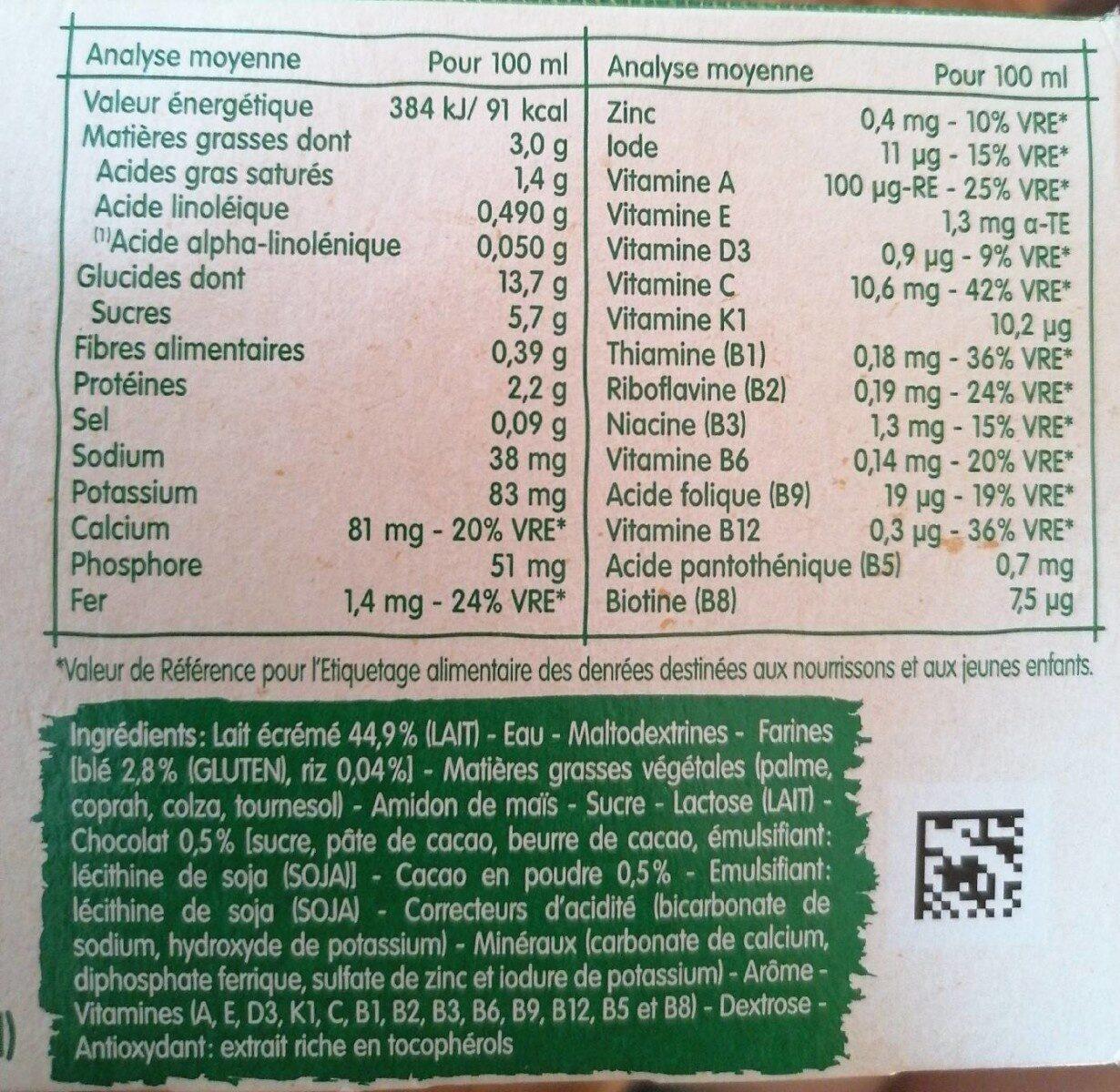 Bledidej Croissance Choco Saveur Banane , Dès 12 Mois, - Nutrition facts - fr