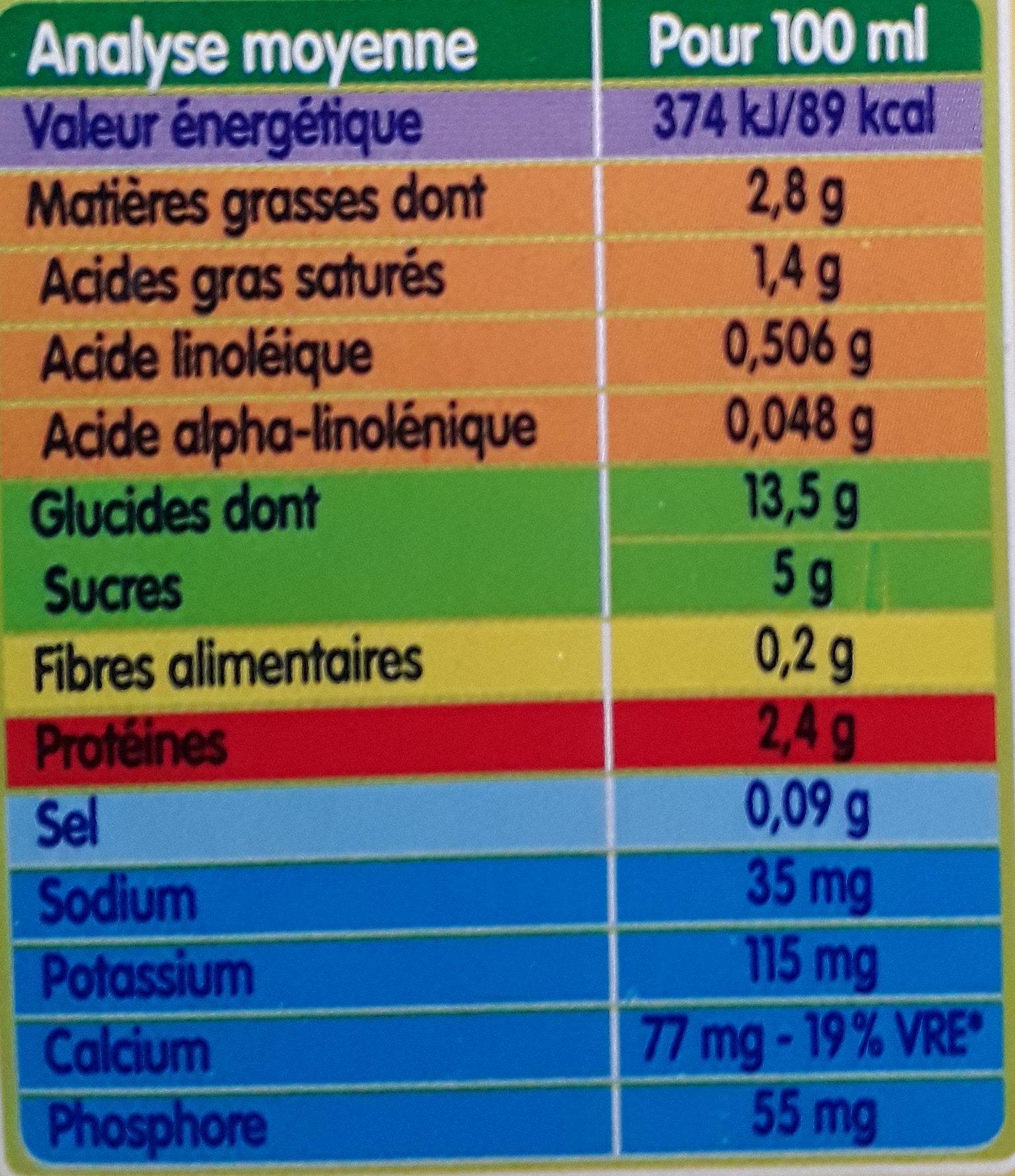 BLEDINA BLEDIDEJ Cacao 4x250ml Dès 6 Mois - Valori nutrizionali - fr