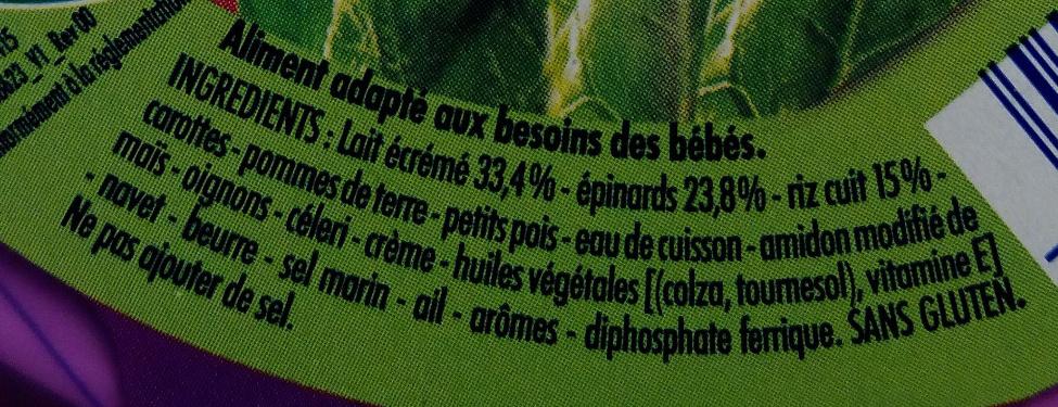 Blédichef Douceur d'Épinards et Riz au Lait - Ingrediënten - fr