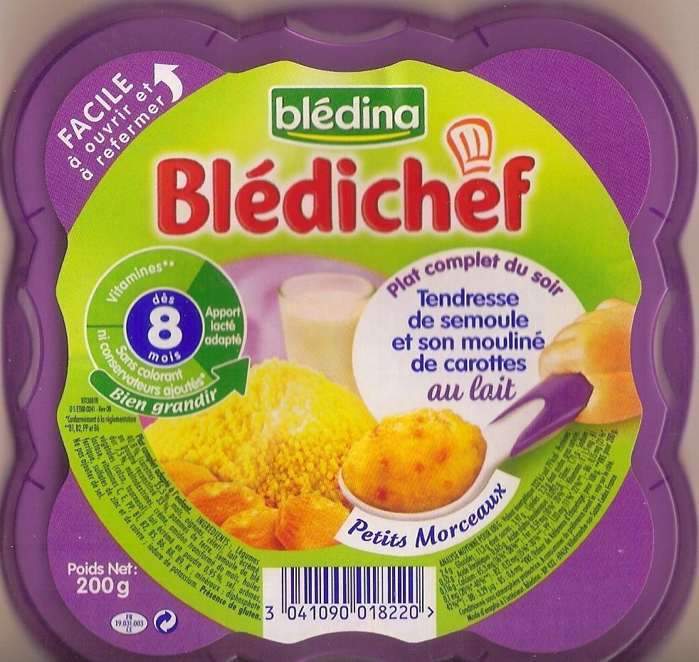 Blédichef - Tendresse de semoule et son mouliné de carottes au lait - Produit