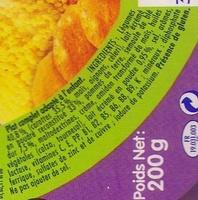 Blédichef - Tendresse de semoule et son mouliné de carottes au lait - Ingrédients