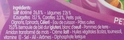 Blédichef fondue de courgettes et petits macaroni - Ingrédients