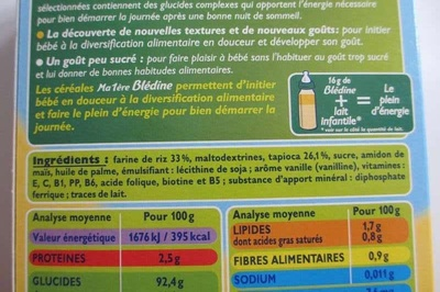 Ma 1ère Blédine Céréales pour bébés RIZ saveur VANILLE - Ingrédients