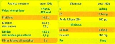 Les Petits Grands - Croc' Choco - Voedingswaarden - fr
