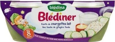 BLEDINER BOLS 2x200g Risotto de Courgettes Lait une touche de gruyère fondu Dès 8 Mois - Produit - fr