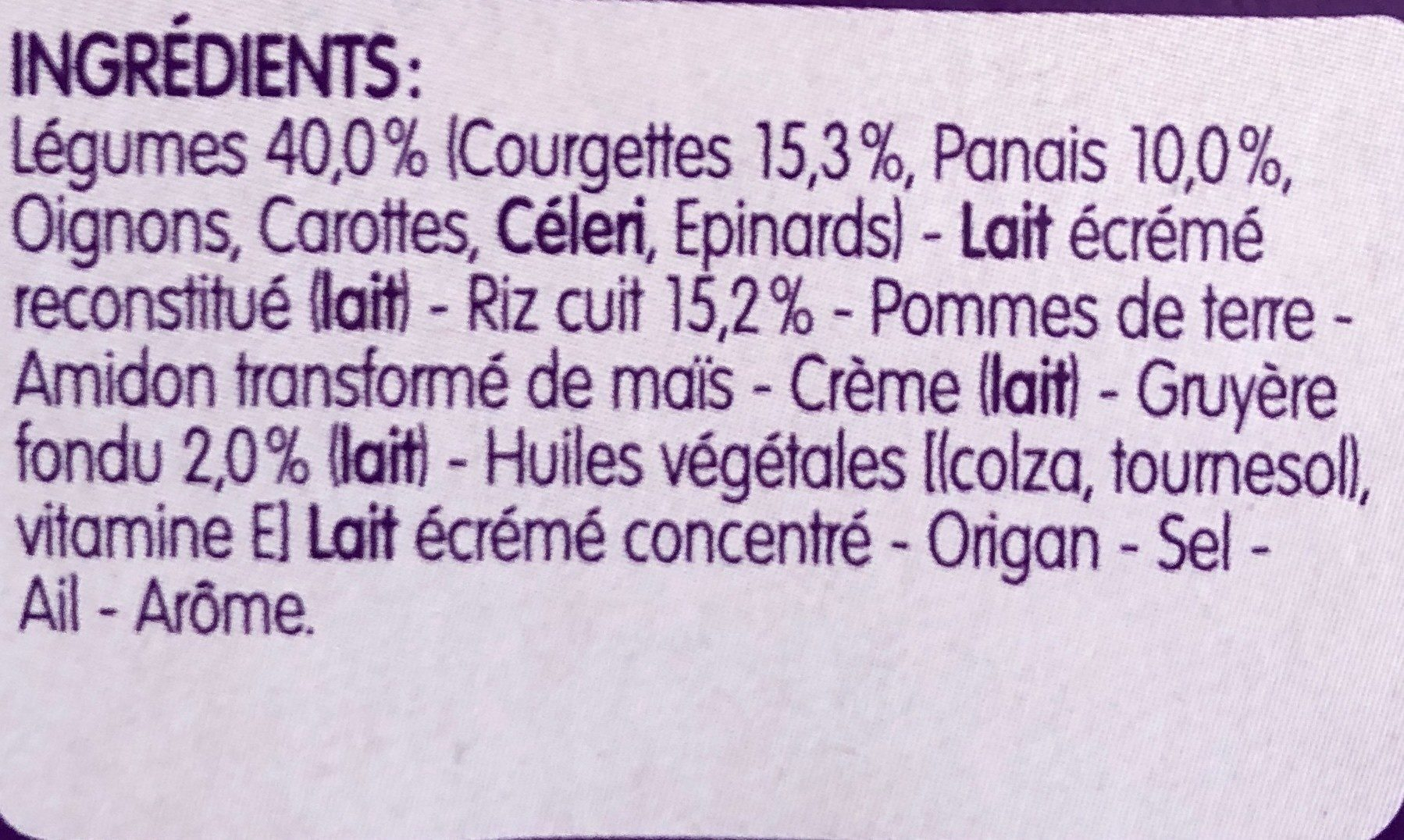 BLEDINER BOLS 2x200g Risotto de Courgettes Lait une touche de gruyère fondu Dès 8 Mois - Ingrédients - fr