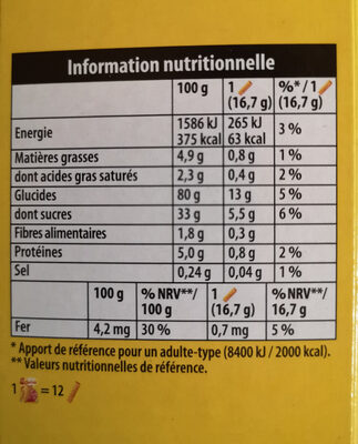 Cracotte Framboise - Informations nutritionnelles - fr