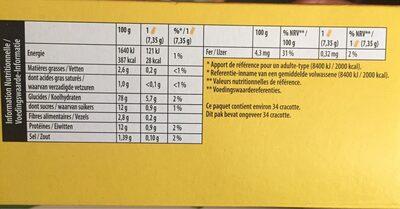 Cracotte - Informations nutritionnelles - fr