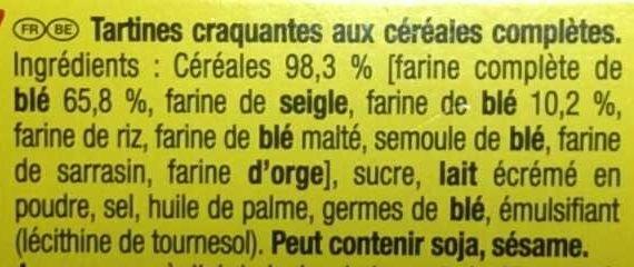 Cracotte Céréales Complètes - Ingrédients - fr