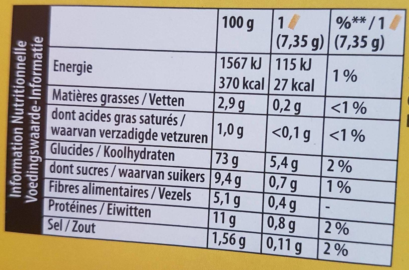 Cracotte Céréales Complètes - Informations nutritionnelles - fr