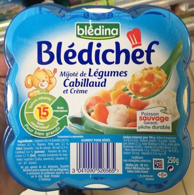 Blédichef Mijoté de Légumes Cabillaud et Crème - Producto