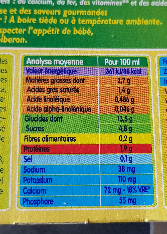 BLEDIDEJ 4x250 ml Céréales Dès 4/6 mois - Nutrition facts - fr