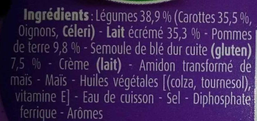Tendresse de semoule et son mouliné de carottes au lait - Ingrédients - fr