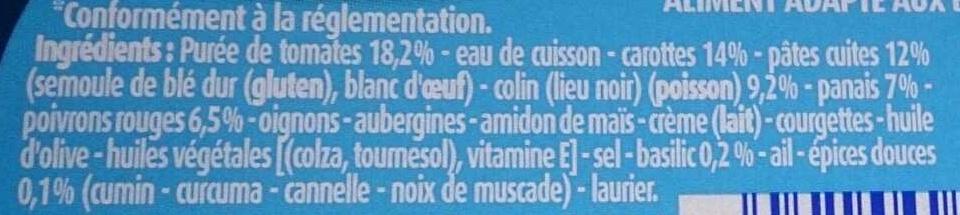 Blédichef Légumes, Petites pâtes et Colin aux épices douces - Ingrédients