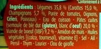 Blédichef Petites Pâtes et Bœuf façon Bourguignon - Ingrédients
