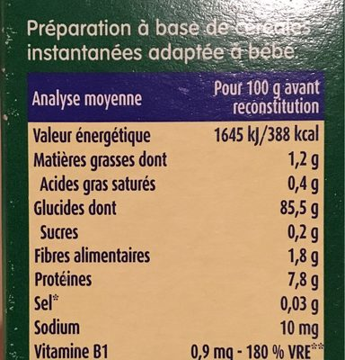 BLEDINA BLEDINE Ma 1ère BLEDINE Nature 250g Dès 4/6 Mois - Información nutricional - fr