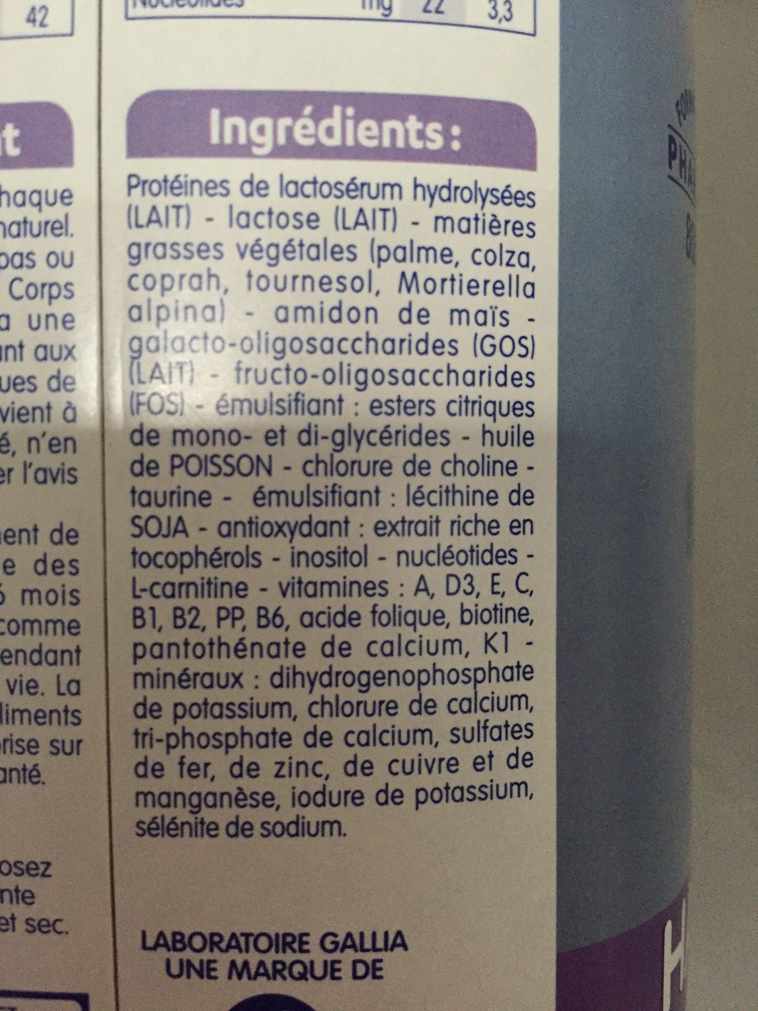 Gallia Bebe Expert Ha 2ème âge - Ingrédients - fr