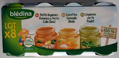 2 Carottes Semoule Dinde / 2 Petits Légumes Pommes de Terre Lieu / 4 Légumes Verts Poulet 8x200g - Product - fr
