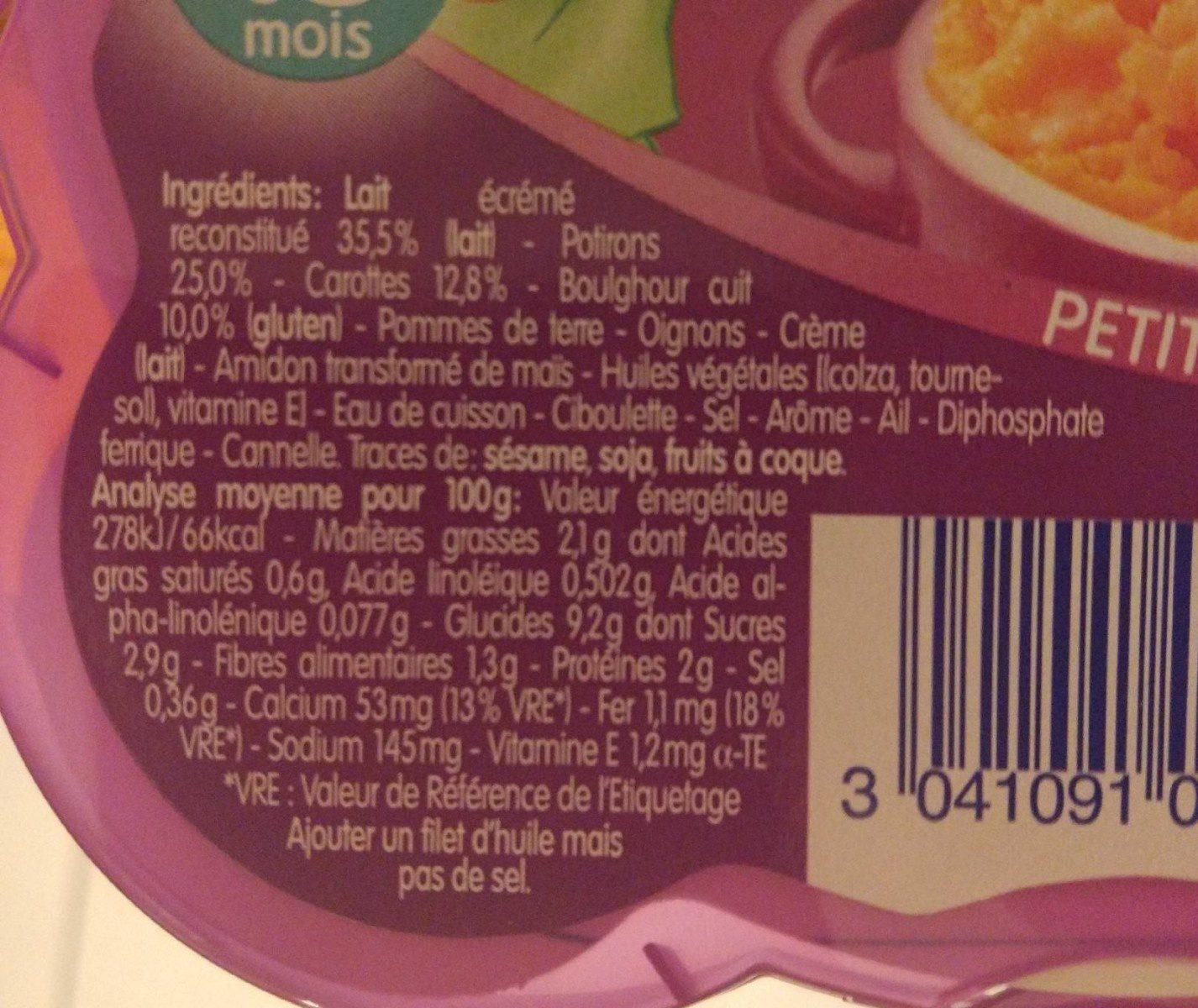Etuvée de potirons carottes et boulghour, dès 15 mois - Ingrediënten - fr